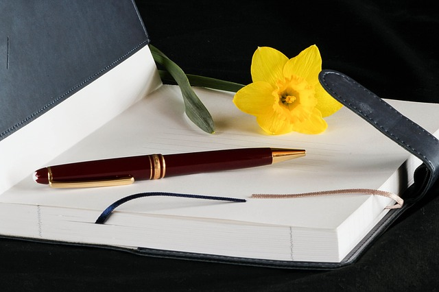Journal with daffodil